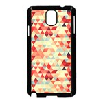 Modern Hipster Triangle Pattern Red Blue Beige Samsung Galaxy Note 3 Neo Hardshell Case (Black) Front