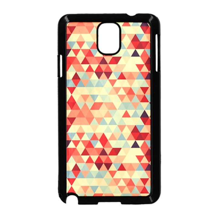 Modern Hipster Triangle Pattern Red Blue Beige Samsung Galaxy Note 3 Neo Hardshell Case (Black)