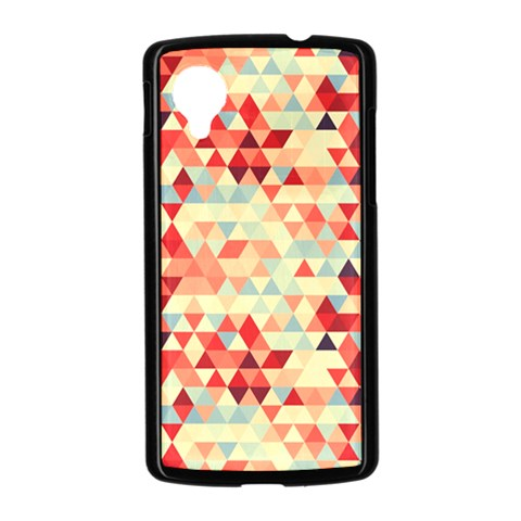Modern Hipster Triangle Pattern Red Blue Beige Nexus 5 Case (Black)