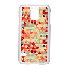 Modern Hipster Triangle Pattern Red Blue Beige Samsung Galaxy S5 Case (white)