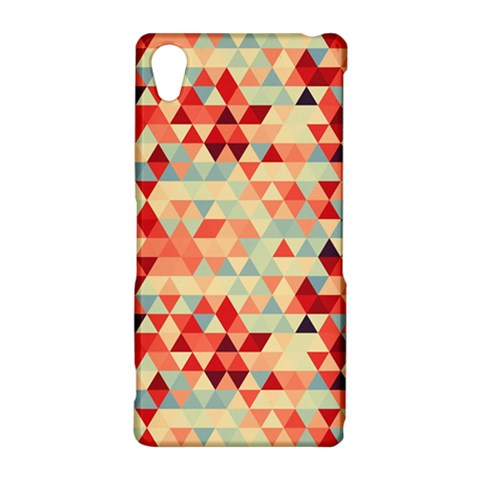 Modern Hipster Triangle Pattern Red Blue Beige Sony Xperia Z2