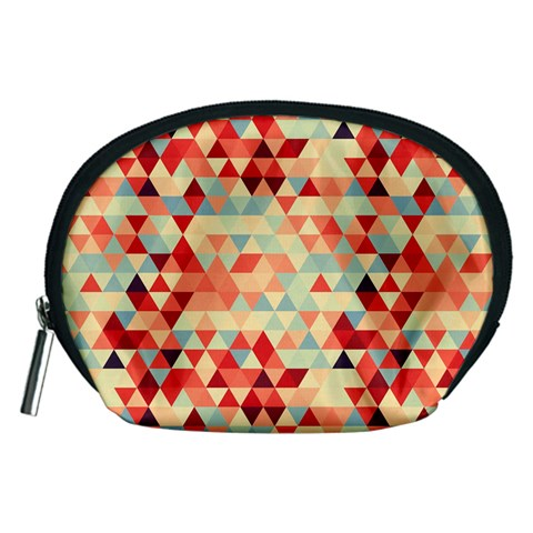 Modern Hipster Triangle Pattern Red Blue Beige Accessory Pouches (Medium)