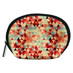Modern Hipster Triangle Pattern Red Blue Beige Accessory Pouches (Medium)  Front