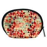 Modern Hipster Triangle Pattern Red Blue Beige Accessory Pouches (Medium)  Back