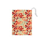 Modern Hipster Triangle Pattern Red Blue Beige Drawstring Pouches (Small)  Front