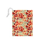 Modern Hipster Triangle Pattern Red Blue Beige Drawstring Pouches (Small)  Back