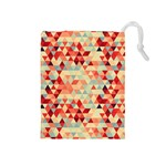 Modern Hipster Triangle Pattern Red Blue Beige Drawstring Pouches (Medium)  Front