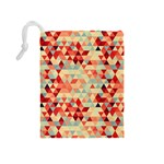 Modern Hipster Triangle Pattern Red Blue Beige Drawstring Pouches (Medium)  Back