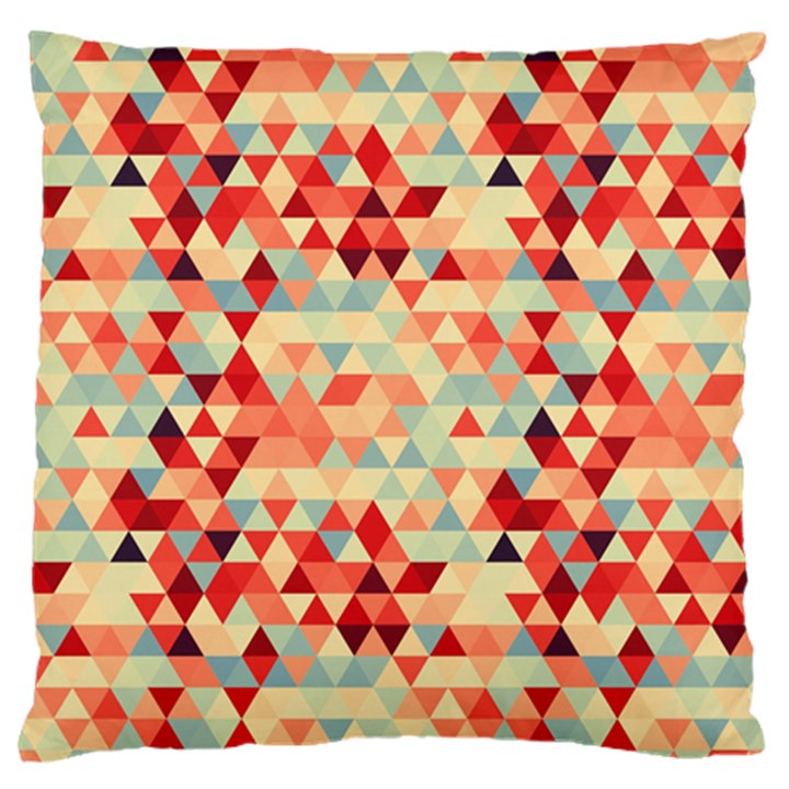 Modern Hipster Triangle Pattern Red Blue Beige Large Flano Cushion Case (One Side)