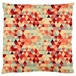 Modern Hipster Triangle Pattern Red Blue Beige Large Flano Cushion Case (Two Sides) Front