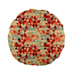 Modern Hipster Triangle Pattern Red Blue Beige Standard 15  Premium Flano Round Cushions Back