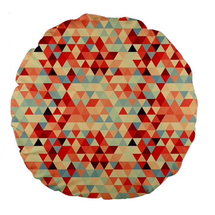 Modern Hipster Triangle Pattern Red Blue Beige Large 18  Premium Flano Round Cushions
