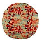 Modern Hipster Triangle Pattern Red Blue Beige Large 18  Premium Flano Round Cushions Back