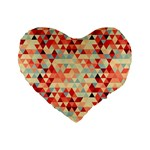 Modern Hipster Triangle Pattern Red Blue Beige Standard 16  Premium Flano Heart Shape Cushions Front