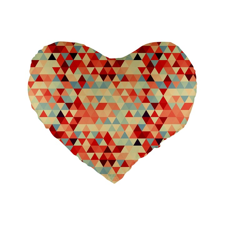 Modern Hipster Triangle Pattern Red Blue Beige Standard 16  Premium Flano Heart Shape Cushions