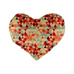 Modern Hipster Triangle Pattern Red Blue Beige Standard 16  Premium Flano Heart Shape Cushions Back