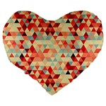 Modern Hipster Triangle Pattern Red Blue Beige Large 19  Premium Flano Heart Shape Cushions Back