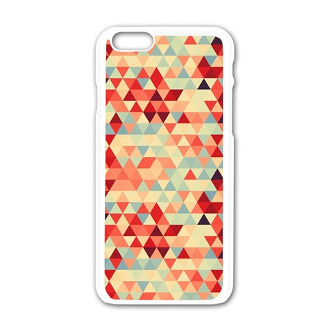 Modern Hipster Triangle Pattern Red Blue Beige Apple iPhone 6/6S White Enamel Case