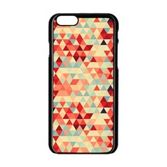 Modern Hipster Triangle Pattern Red Blue Beige Apple iPhone 6/6S Black Enamel Case