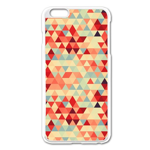 Modern Hipster Triangle Pattern Red Blue Beige Apple iPhone 6 Plus/6S Plus Enamel White Case