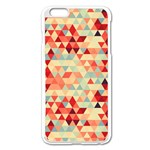 Modern Hipster Triangle Pattern Red Blue Beige Apple iPhone 6 Plus/6S Plus Enamel White Case Front