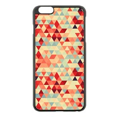 Modern Hipster Triangle Pattern Red Blue Beige Apple iPhone 6 Plus/6S Plus Black Enamel Case