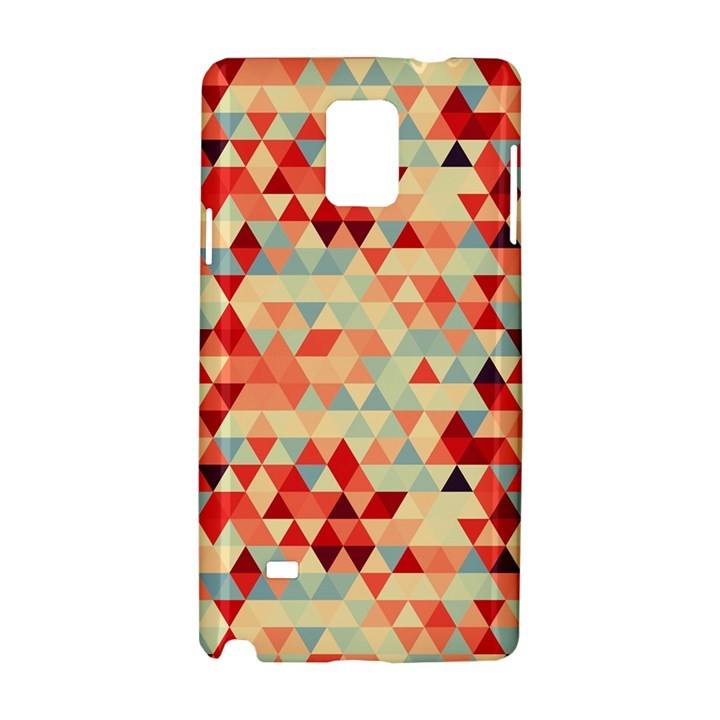 Modern Hipster Triangle Pattern Red Blue Beige Samsung Galaxy Note 4 Hardshell Case