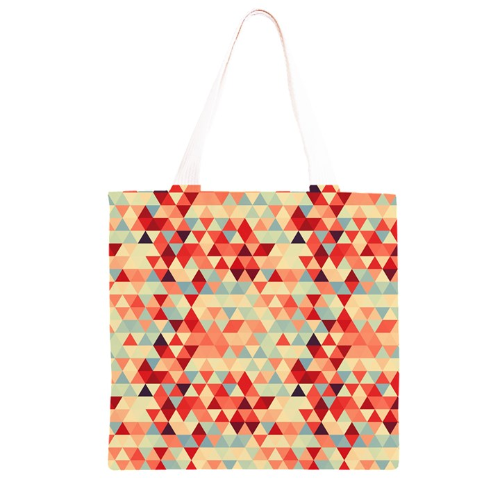 Modern Hipster Triangle Pattern Red Blue Beige Grocery Light Tote Bag