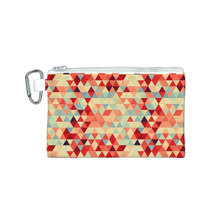 Modern Hipster Triangle Pattern Red Blue Beige Canvas Cosmetic Bag (S)