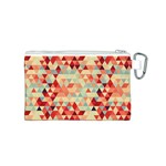 Modern Hipster Triangle Pattern Red Blue Beige Canvas Cosmetic Bag (S) Back