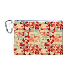 Modern Hipster Triangle Pattern Red Blue Beige Canvas Cosmetic Bag (M)
