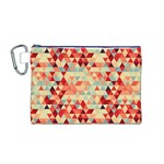 Modern Hipster Triangle Pattern Red Blue Beige Canvas Cosmetic Bag (M) Front