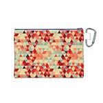 Modern Hipster Triangle Pattern Red Blue Beige Canvas Cosmetic Bag (M) Back