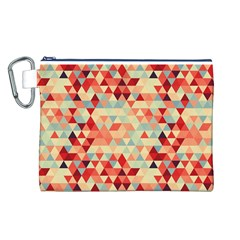 Modern Hipster Triangle Pattern Red Blue Beige Canvas Cosmetic Bag (L)