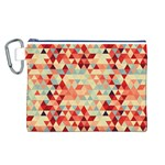 Modern Hipster Triangle Pattern Red Blue Beige Canvas Cosmetic Bag (L) Front