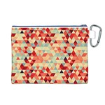 Modern Hipster Triangle Pattern Red Blue Beige Canvas Cosmetic Bag (L) Back