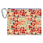 Modern Hipster Triangle Pattern Red Blue Beige Canvas Cosmetic Bag (XXL) Front
