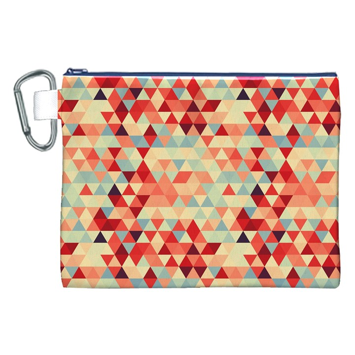 Modern Hipster Triangle Pattern Red Blue Beige Canvas Cosmetic Bag (XXL)