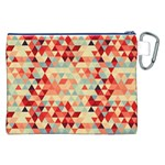 Modern Hipster Triangle Pattern Red Blue Beige Canvas Cosmetic Bag (XXL) Back