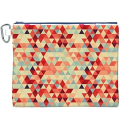 Modern Hipster Triangle Pattern Red Blue Beige Canvas Cosmetic Bag (xxxl)