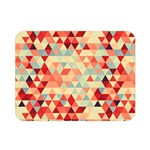 Modern Hipster Triangle Pattern Red Blue Beige Double Sided Flano Blanket (Mini)  35 x27 Blanket Back