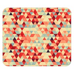 Modern Hipster Triangle Pattern Red Blue Beige Double Sided Flano Blanket (Small)