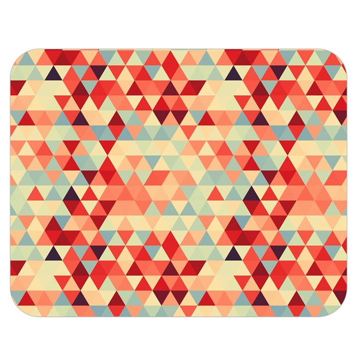 Modern Hipster Triangle Pattern Red Blue Beige Double Sided Flano Blanket (Medium)