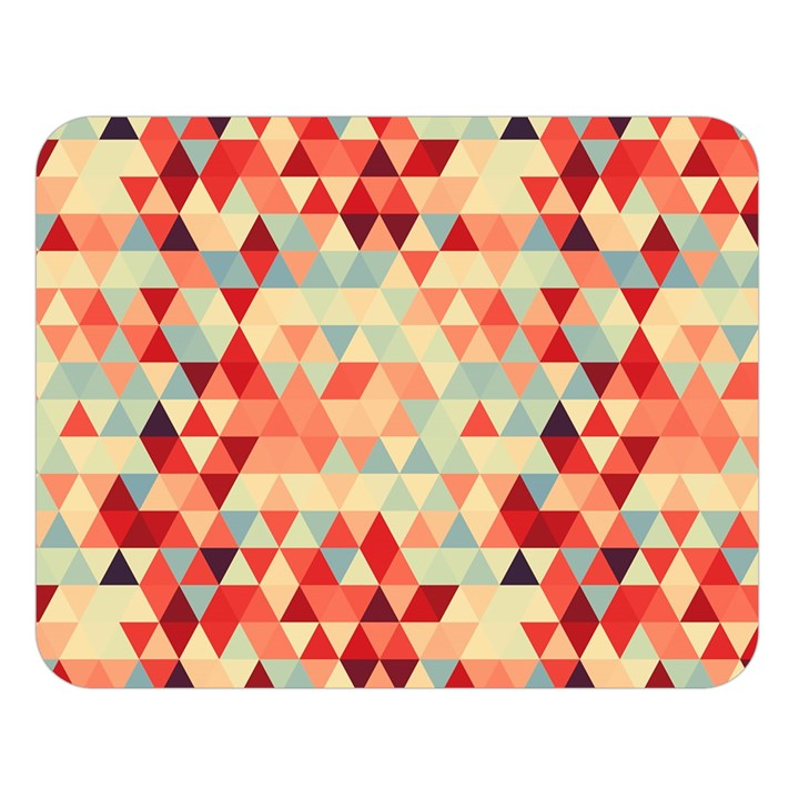 Modern Hipster Triangle Pattern Red Blue Beige Double Sided Flano Blanket (Large)