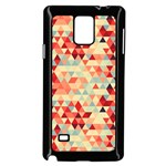 Modern Hipster Triangle Pattern Red Blue Beige Samsung Galaxy Note 4 Case (Black) Front