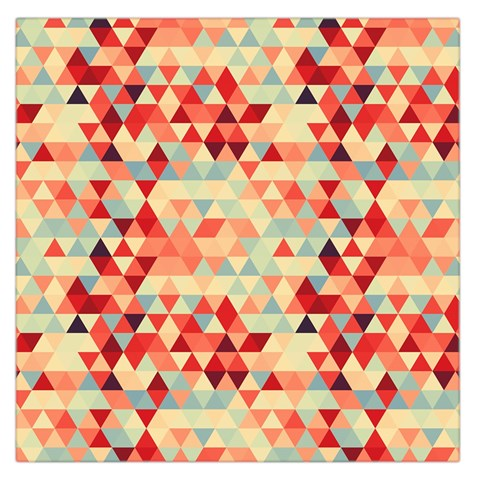 Modern Hipster Triangle Pattern Red Blue Beige Large Satin Scarf (Square)