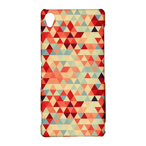 Modern Hipster Triangle Pattern Red Blue Beige Sony Xperia Z3