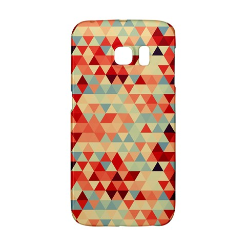 Modern Hipster Triangle Pattern Red Blue Beige Galaxy S6 Edge