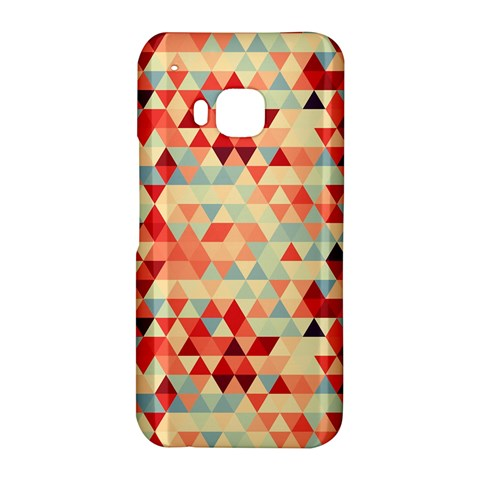 Modern Hipster Triangle Pattern Red Blue Beige HTC One M9 Hardshell Case