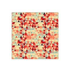 Modern Hipster Triangle Pattern Red Blue Beige Satin Bandana Scarf